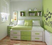 Fotos de decoração de quartos pequenos quarto verde e branco