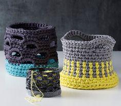 "Crochet baskets from the book ""Lutter Løkker"" love the motive Crochet Zig Zag, Crochet Bowl, Diy Crochet And Knitting, Crochet Hats, Crochet Baskets, Crochet Design, Yarn Projects, Crochet Projects, Crochet Free Patterns"