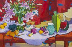 Angus Wilson - El calor al aire libre con Lillies Contemporary Artwork, Contemporary Artists, Wilson Art, Paintings I Love, Arte Floral, Fantastic Art, Vase, Fine Art Gallery, Flower Art