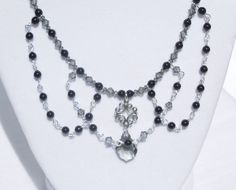 Swarovski mystic black pearl and black diamond crystal necklace with sterling silver link and black diamond baroque pendant by ParkhillDesigns on Etsy