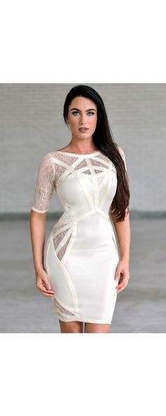 This neutral dress makes a daring declaration! The Shannon Bandage Dress with Lace Cutouts is unlined. The dress is made of a thick bandage material that stretches. Dresses For Teens, Nice Dresses, Short Dresses, Neutral Dress, Dresser, Lace Dress, White Dress, Affordable Dresses, Online Clothing Boutiques