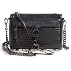 Rebecca Minkoff 'Line Quilted Mini MAC' Convertible Crossbody Bag ($112) ❤ liked on Polyvore featuring bags, handbags, shoulder bags, purses, black, black leather crossbody, quilted chain strap shoulder bag, leather shoulder bag, black leather handbags and mini crossbody