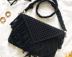 Macrame Bag/Macrame Purse/ Black Macrame Purse/ Boho Purse/ Strap Bag/ Black Macrame Bag/Macrame Sho Source by etsy and purses boho Macrame Purse, Macrame Plant Hangers, Macrame Knots, Macrame Design, Fitness Gifts, Macrame Projects, Crochet Woman, Purse Strap, Macrame Patterns