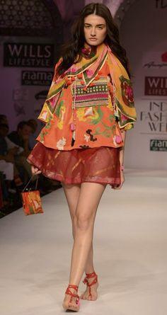 Red silk top with skirt by ANUPAMA DAYAL. http://www.perniaspopupshop.com/wills-fashion-week/anupamaa-dayal