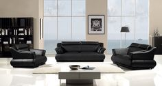 Modern Black Leather Sofa Couch Loveseat Chair Tufted Living Room Set