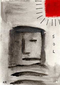 sol e9Art ACEO Outsider Art Brut Painting Abstract #OutsiderArt