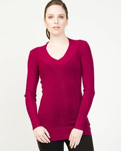 Acrylic Blend Cable Knit Sweater