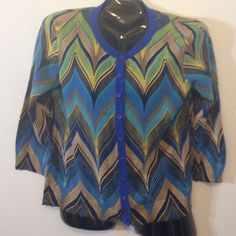 Anthropologie chevron cardigan L by Tabitha for Anthro. Beautiful shades of blue tan & Kelly green chevron striped cardigan. Barely worn. Excellent condition L Anthropologie Sweaters Cardigans