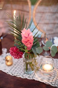 Tropical Pink Flower, Palm and Eucalyptus Centerpiece – Wedding Centerpieces Tropical Wedding Centerpieces, Tropical Wedding Decor, Wedding Flower Arrangements, Floral Wedding, Wedding Flowers, Wedding Decorations, Tropical Decor, Tropical Weddings, Centerpiece Wedding