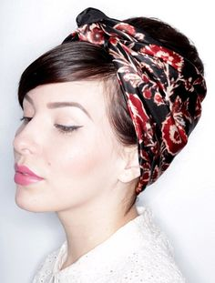 updo with a silk scarf for short hair