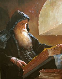 Artist Andrey Shishkin (Russia, b.1960) - Hermit in his cell.