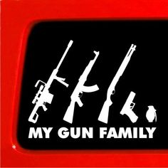 My Gun Family Sticker - Stick Figure Family car truck funny stickers car decal bumper Sticker Connection