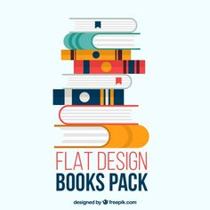 Books pack in flat design Free Vector