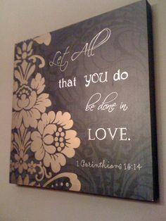 Contemporary Canvas Home Decor - Bible Verse Love. $40.00, via Etsy.