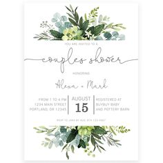 Couples Greenery Shower Invitation | Forever Your Prints