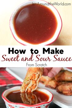 This Homemade Sweet and Sour Sauce is so easy to make that you all never buy store bought again! I use it for all my Chinese dishes like egg rolls, wontons, and more. With this homemade sweet and sour sauce, you will never have to buy store bought again. Authentic Chinese Recipes, Chinese Chicken Recipes, Easy Chinese Recipes, Chinese Desserts, Chinese Meals, Chinese Sauce Recipe, Wonton Sauce Recipe, Lumpia Sauce Recipe, Gastronomia