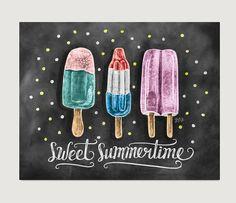 Sweet Summertime Popsicle Print - Chalkboard Art - Summer Kitchen Decor - Chalk Art - Popsicle Illustration - Hipster Art - Chalkboard Print
