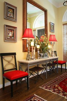 Court Meadow, Entry way red accents, Cheryl Ketner Interiors