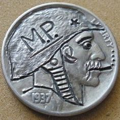 J. PRESS HOBO NICKEL - M.P.* - 1937 BUFFALO NICKEL Hobo Nickel, Military Police, Paper Cutting, Buffalo, Classic Style, Carving, Personalized Items, Art, Art Background