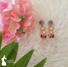 Aretes con piedras semi preciosas Amatista, Ágatas Y Cuarzo Rosa