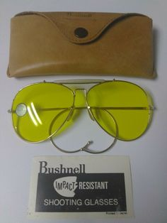 Vintage Bushnell SHOOTING GLASSES with Case and Card insert #Bushnell Gun Cases, First Walkers, Cleaning Kit, Lenses, Sunglasses Case, Old Things, Cards, Vintage, Ebay