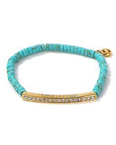 MICHAEL Michael Kors Bead Pavé Bar Turquoise Bracelet | Bloomingdale's