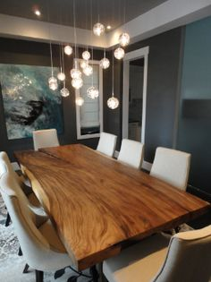 Dining room with live edge table