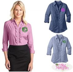 Monogrammed Crosshatch Ruffle Easy Care Shirt  Apparel & Accessories   www.thepinkmonogram.com