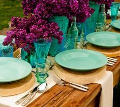 love this color scheme with the rustic table, Lavender with Turquoise place settings lilacs Place Settings, Table Settings, Sweet Home, Wood Logs, Wood Slab, Raw Wood, Wood Grain, Deco Table, Decoration Table