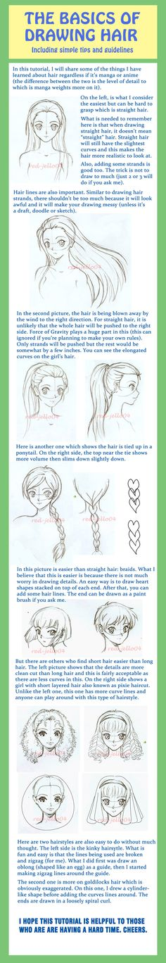 Tutorial on the Basics of Drawing Hair for manga/anime characters, by red-jello04 on deviantART.