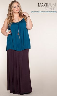 Curvy Girl Inspiration-- Maximum Style - Long And Loose. The SWAK Designs California Maxi Skirt-- I love this, except the skirt would have to be way shorter, because I am way shorter. lol ;)