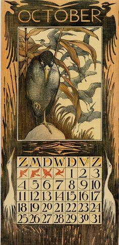 Theodoor van Hoytema, calendar  1903, October  https://www.pinterest.com/chemeinpaul/calendar/