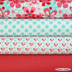 For Shannon: Michael Miller Fabric Pack AquaRed in Nearby Floral Tissu Michael Miller, Michael Miller Fabric, Sewing Crafts, Sewing Projects, Quilt Material, Fabric Patterns, Sewing Patterns, Dressmaking Fabric, Textiles