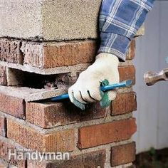 """How to Reset a Loose Brick (you can't just shove mortar around it!) - chip away old mortar, pull out brick, clean brick with water and wire brush, dampen opening with water, use bagged mortar mix (not sand or concrete), add latex additive to the water and mix with mortar until the consistency is like peanut butter, apply a 1/2"""" layer of mortar to the sides of the cavity and brick, pack the mortar oozing out with a trowel into the joint, clean mortar off brick with a soft bristle brush…"""