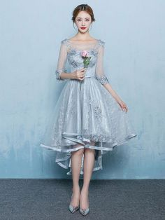 Gray Lace Hi Low Formal Prom Dress with Sleeves