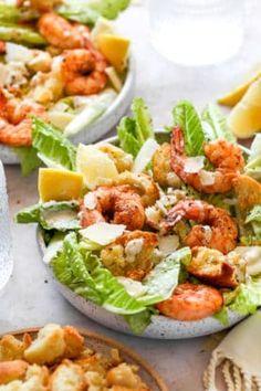 Quick Healthy Meals, Healthy Salad Recipes, Healthy Eating, Yummy Recipes, Healthy Food, Easy Diner, Shrimp Salad, How To Cook Shrimp, Caesar Salad
