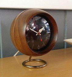 Vintage George Nelson Howard Miller Walnut Chronopak MCM Electric Desk Clock