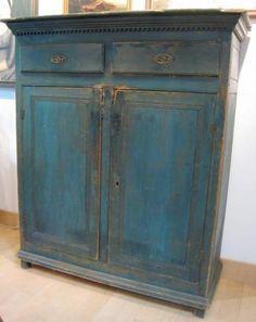 Blue Jelly Cupboard | lindarosenantiques.com
