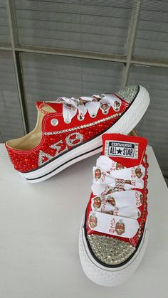 Custom Rhinestone Converse Sorority Themed by KlutteredKicks