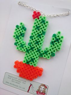 365 Day Challenge, Day 10, Hama Bead Cactus Plant Necklace
