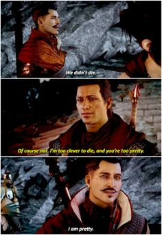 Skulduggery and Valkyrie are a pretty good comparison for Dorian/Inquisitor.