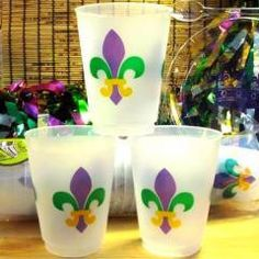 Mardi Gras Fleur De Lis frost flex cups(sleeve of 25) — Party Cup Express