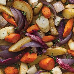 This recipe for Aromatic Roasted Root Vegetables is super basic and easy. These roasted veggies are easy to make and are a healthy side.