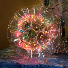 Make a sparkle ball with christmas lights and clear plastic cups stapled together. Cool Planet