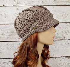 Crochet Hat Womens Hat Newsboy Hat  Monarch Ribbed by pixiebell