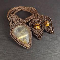 Makramee Halskette Makramee Anhänger Gold Rutilated von neferknots