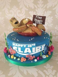 'Crush & Squirt' Finding Nemo 18th Birthday cake  Cake by Sugar Sweet Cakes