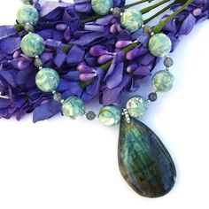 Labradorite Handmade Necklace Mother of Pearl Resin Mint Green Jewelry   ShadowDogDesigns - Jewelry on ArtFire