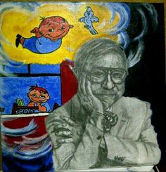 """""""The boy who never grew up"""" a tribute painting to Chuck Jones"""