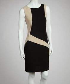Take a look at this Black & Beige Color Block Dress by Voir Voir on #zulily today! $20 !!